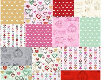 "SALE 30% Off Anne Bollman VINTAGE VALENTINE Precut 10"" Fabric Squares Quilting Cotton Layer Cake Clothworks"