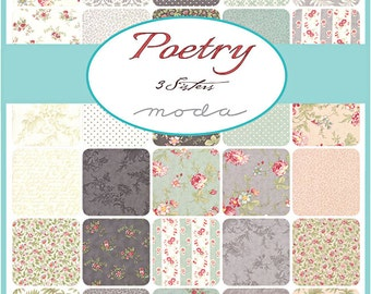 "SQ80 Moda POETRY Precut 5"" Charm Pack Fabric Quilting Cotton Squares 3 Sisters 44130PP"