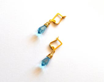 Blue Crystal Earrings / Wedding Jewelry / Blue Gold  Chandelier Earrings / Gold Wire Wrapped Earrings with Gem Cut Crystals in Topaz Blue