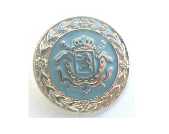 6 Vintage metal buttons 25mm, light blue enamel on silver color, shank buttons
