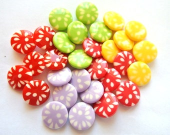 30 Plastic buttons, 5 colors, 14mm, new buttons, very sweet buttons