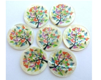 SALE-60 Shell buttons colorful tree print 20mm