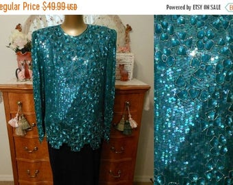 ON SALE Vintage 80s Sequined Blouse Top, 1980s Iridescent Emerald Green Silk Beaded and Sequined Floral Motif, Size L Large
