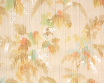 1920's Vintage Wallpaper - Antique Wallpaper Watercolor Leaves Yellow Brown Orange and Blue