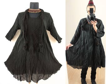 Black FLOATY CRINKLE DRESS with matching Scarf us Plus Size 22 24 26 3X 4X Gypsy Hippie Gothic Lagenlook Linen Cotton Spring Summer