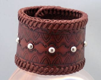 Men's Biker Brown Leather Cuff Bracelet Jewelry silver Domed Rivets stamped design brown Lacing adjustable handmade