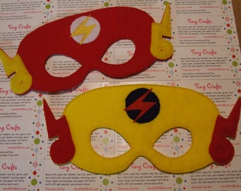 Flash or Reverse Flash inspired felt mask for dress up or Halloween Costume Pretend Play Imagination Education party favor