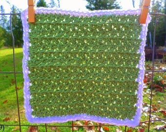 Sage Green with White Border Hand Crocheted Wash/Dish Cloth 100% Cotton