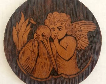 Antique Victorian Pyrography Plaque, Victorian Folk Art, Signed and Dated by the Artist, 1919, Angel and Stork, Victorian Baby Collectible
