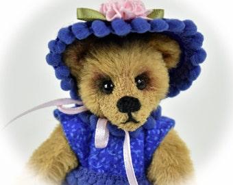 Gracie – Miniature, Teddy Bear, Handmade, Stuffed Animal, Toy, OOAK, Dressed Bear, Custom Teddys