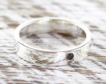 Black Diamond Ring Mens and Womens Sterling Silver Wedding Band