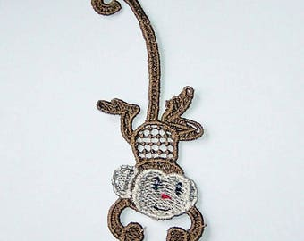 Monkey bookmark embroidered