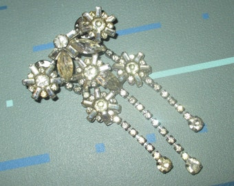 Reserved for Sarah.....Vintage FAB Art Deco Rhinestone Two PIece Dangle Pin