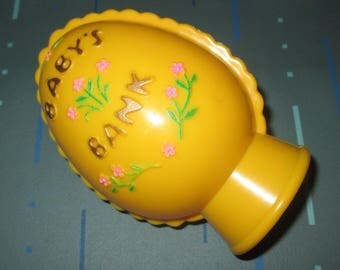 Vintage 60s Cute Yellow Egg Babys Coin Bank