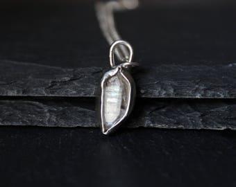 Herkimer Diamond Sterling Silver Necklace #004 | Handmade Bezel Crystal Pendant | Minimalist Boho Bohemian | Gugma Jewelry Women's