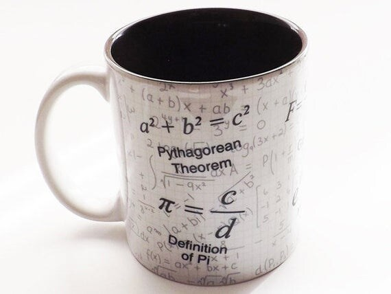 Math Teacher Gift Coffee MUG CUP formula arithmetic Nerd Science Pi day Equations Geek party favor hostess stocking stuffer einstein fun tea
