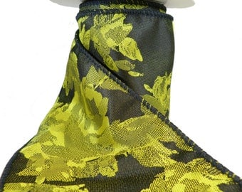 "3 Rolls Of Bold Chartreuse Roses On Black Satin Wired Ribbon  4"" Wide"
