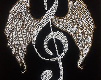 """Music notes 11""""x14"""" canvas black white blue yellow sheet music angel wings"""