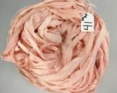 Silk sari ribbon, Silk Chiffon Sari Ribbon, Pale Pink chiffon sari ribbon, pink sari ribbon, Tassel supply, knitting supply, pink ribbon