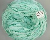Sari silk ribbon, Silk CHIFFON sari ribbon, Recycled Silk Sari Ribbon, Aquamarine ribbon, tassel supply, weaving supply, knitting supply