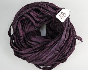 Sari silk ribbon, Recycled Silk Sari Ribbon, Aubergine sari ribbon skein, eggplant sari ribbon, knitting supply, weaving supply