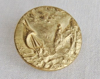 Antique Brass Sail Boat Ocean Picture Button One Piece
