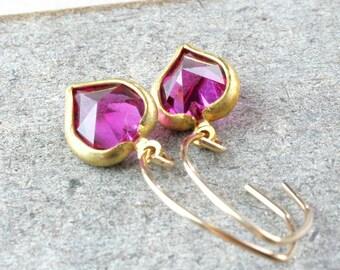 Pink Heart Earrings Gold Filled Swarovski  Jewelry  Crystal Jewellery Vintage Glam  Swarovsky Crystal Jewelry