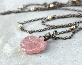 Pink Ruby  Necklace Oxidized Silver  July Birthstone Pendant Mixed Metal Necklace   Gemstone Jewelry    Handmade Accessories Wire Wrapped