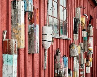 Nautical Photography, Print or Canvas Art, Fishing Shack, Motif No 1, Lobster Buoys, Rockport, New England, Beach Decor - Cape Ann Buoys