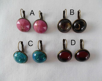 Acrylic Cabochon Latch Hook Earrings - Your Choice