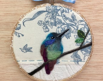 Green Violetear Hummingbird on a Branch Needle Felted and Glitter Trimmed Embroidery Hoop Art by Val's Art Studio