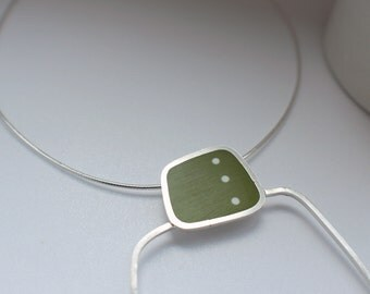 Geometric Statement Pendant - Polkadot Pendant - Dot Resin Pendant - Silver and Resin Necklace - Graphico DotDotDot