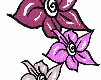 Trio of Flowers Letzrock Machine Embroidery Designs..3a