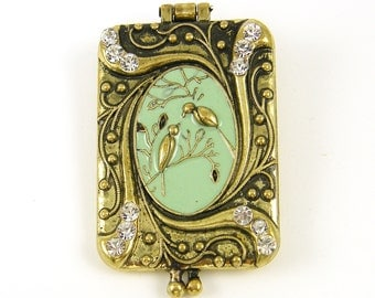 Antique Brass Locket with Birds Green Enamel and Rhinestones Vintage Style Magnetic Closure  B7-17 1