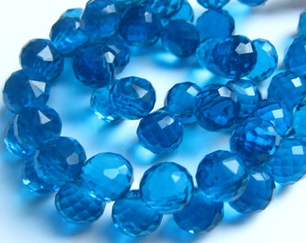 1/2 Strand of Neon Apatite Blue Hydro Quartz Faceted Onion Briolettes 8mm Semi precious Gemstone Beads