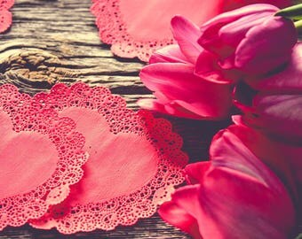 Flower Photography - Tulip Art Print - Valentine - Paper Heart - Still Life Photograph - Pink Red Wall Art - Farmhouse Decor - Romantic -