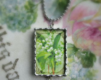 Vintage Lily of the Valley Postcard Pendant - To Thine Own Self Be True