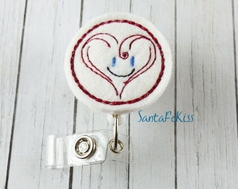Smiling Heart Felt ID Badge Holder with Retractable Badge Reel for Valentine's Day by SantaFeKiss