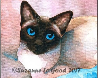 SIAMESE CAT PRINT - Applehead - old-type - sealpoint - kitty - Limited Edition large print from painting by English artist Suzanne Le Good