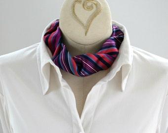 Necktie Necklace - Tie Choker - Womens Necktie - Office Wear - Upcycled Neckties - Memorial Gift - Pink Silk Choker 03