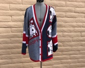 Vintage Snoopy Peanuts Charlie Brown Cardigan Red Blue Sz L