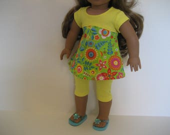 18 Inch Doll - Lots of Bright Flowers Top Outfit made to fit dolls such as American Girl and Maplelea doll clothes