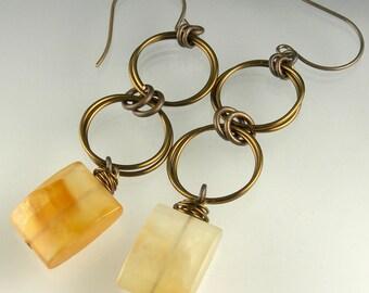 Light Carnelian Boho Gypsy Long Dangle Statement French Hook Earrings in Vintaj Antique Brass