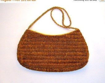30% OFF SALE Vintage beaded handbag / GOLD caramel coppery sparkly beads / evening purse / romantic date night clutch