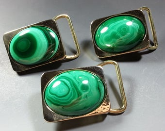 Classy Solid Brass Vintage Belt Buckles with 30x40mm Malachite Cabochons