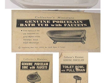 Childs - Dollhouse -  Miniature Bathroom Set -Porcelain Bath Tub - Toilet - Sink - Original Boxes -Vintage Set -Cute