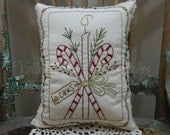 Decorative Winter/Christmas Pillow, Candy Canes, Hand Stitched Pillow, Pine and Berries