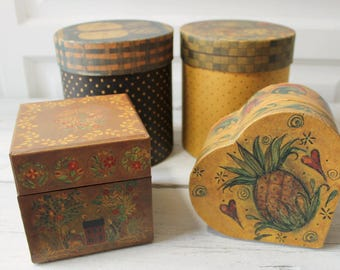 Collection of Cardboard Boxes, Decorative Boxes, Primitive Boxes, Four Boxes, Different Sizes, Heart Box. Square, Round, Tall, Short