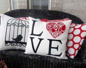 Love pillow, Valentine Pillow, Filigree Heart, Valentine Decor, Sofa Pillow