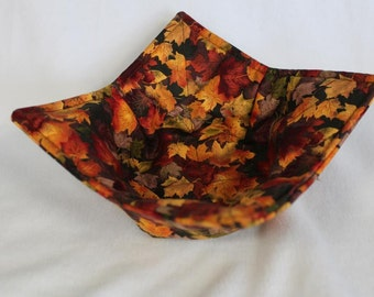 Reversible Quilted Microwave Bowl Cozy Pot Holder Bowl Holder Leaves